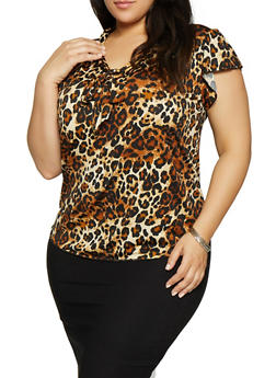 Plus Size Leopard Tie Neck Top - 8429020629273