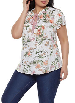 Plus Size Floral Flutter Sleeve Tie Neck Top - 8429020629275