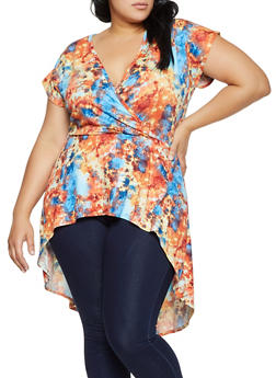 Plus Size Printed Faux Wrap High Low Top - 8429020629503