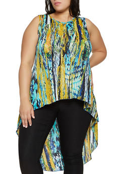 Plus Size Printed High Low Sleeveless Top - 8429020629599