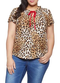 Plus Size Leopard Print Tie Neck Top - 8429020629715