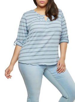 Plus Size Striped Keyhole Neck Top - 8429020629991