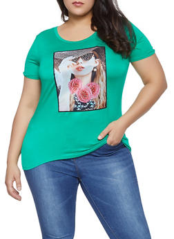 Plus Size Studded Model Graphic Tee - 8429054217948