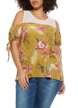 Plus Size Mesh Floral Cold Shoulder Top - 8429054265353