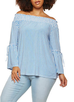 Plus Size Striped Off the Shoulder Bell Sleeve Top - 8429056122767