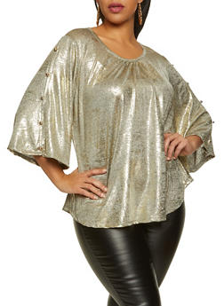 Plus Size Button Sleeve Coated Metallic Top - 8429062701184