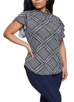 Plus Size Printed Flutter Sleeve Top - 8429062702115