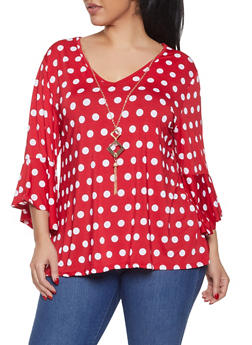 Plus Size Polka Dot Bell Sleeve Top with Necklace - 8429062702394