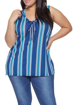 Plus Size Sleeveless Striped Tie Front Top - 8429062702396