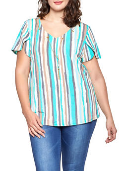 Plus Size Tulip Sleeve Striped Top - 8429062702404
