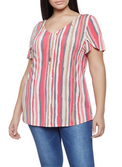 Plus Size Tulip Sleeve Striped Top - 8429062702404