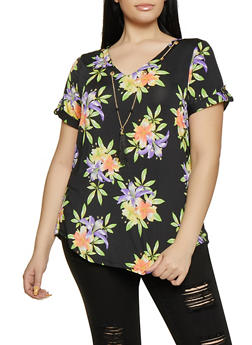 Plus Size Floral Tabbed Sleeve Top with Beaded Tassel Necklace - 8429062702407