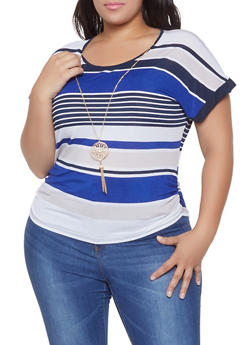 Plus Size Striped Short Sleeve Top with Necklace - 8429062702550