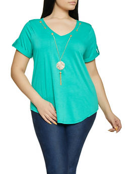 Plus Size Threaded Neckline Tee - 8429062702644