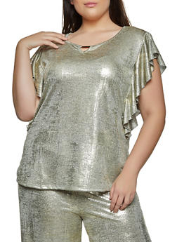 Plus Size Ruffled Metallic Coated Top - 8429062703129
