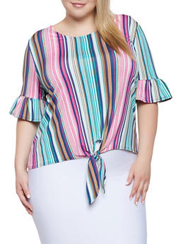 Plus Size Tie Front Top | 8429062704425 - 8429062704425