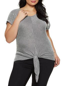 Plus Size Fixed Cuff Striped Top - 8429062705345