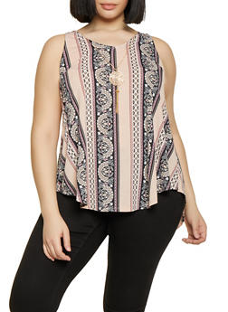 Plus Size Border Print Sleeveless Top with Necklace - 8429062706161