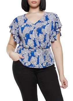 Plus Size Paisley Print Faux Wrap Flutter Sleeve Top - 8429062706525