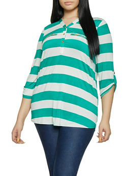 Plus Size Vertical Stripe Half Button Top - 8429062706959
