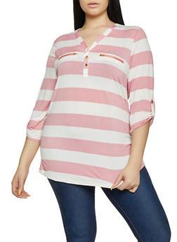 Plus Size Vertical Stripe Half Button Top - 8429062706959