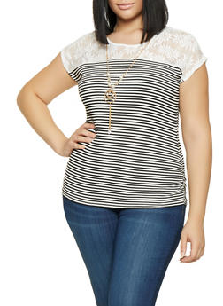 Plus Size Lace Yoke Striped Top with Necklace - 8429062707764