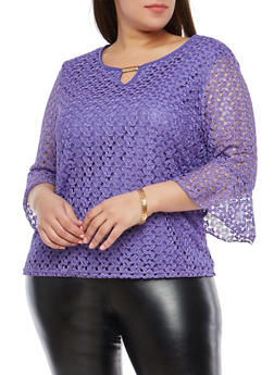 Plus Size Metallic Detail Bell Sleeve Lace Top - 8429062707900