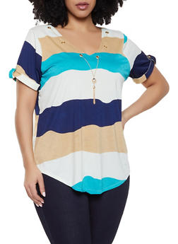e6fb799cff2 Plus Size Striped Chain Threaded Tee - 8429062708833
