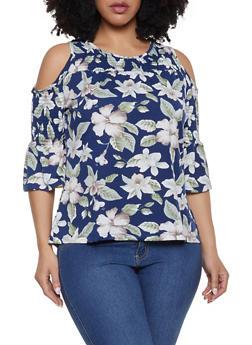 Plus Size Smocked Cold Shoulder Floral Top - 8429064467563