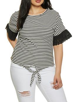 Plus Size Eyelet Trim Striped Top - 8429064467564