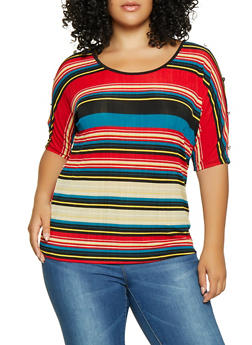 Plus Size Split Button Sleeve Striped Top - 8429065241474