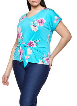 Plus Size Tie Front Floral Top - 8429072682091
