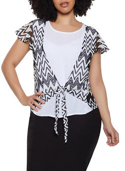 Plus Size Crochet Tie Front Top - 8429072685188