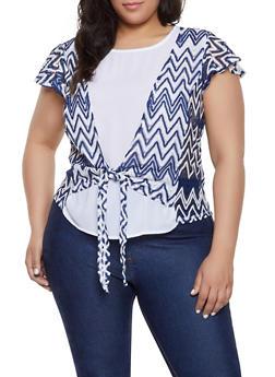 Plus Size Crochet Tie Front Top - 8429072685188