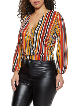 Plus Size Tie Back Faux Wrap Top - 8429075174321