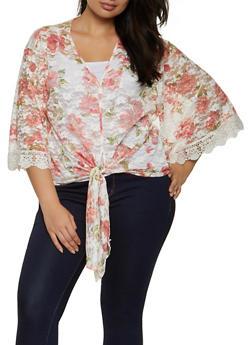 Plus Size Floral Lace Tie Front Top - 8429075178030