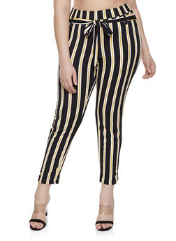 Plus Size Striped Textured Knit Pants - 8441020620436