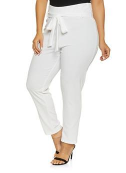 Plus Size Tie Front Pants - 8441020621897