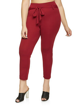 Plus Size Tie Front Pants - 8441020621897