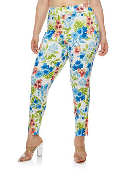 Plus Size Floral Print Dress Pants - 8441020622767