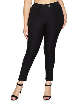 Plus Size Tabbed Stretch Dress Pants - 8441020623318