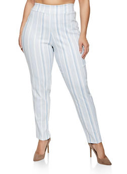 Plus Size Striped Stretch Dress Pants - 8441020624217