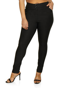 Plus Size Three Button Detail Pull On Dress Pants - 8441020624227