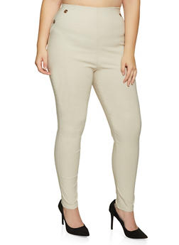 Plus Size Pull On Button Detail Jeggings - 8441020624648
