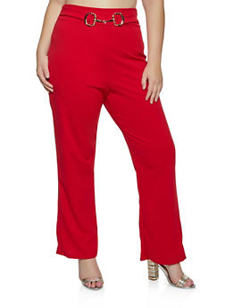 Plus Size Belted Front Dress Pants - 8441020624903