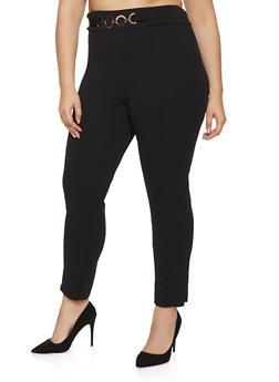 Plus Size Belted Front Crepe Knit Dress Pants - 8441020624916