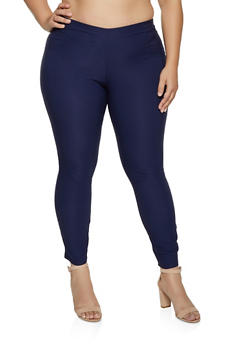Plus Size Solid Stretch Pull On Dress Pants - 8441020625043