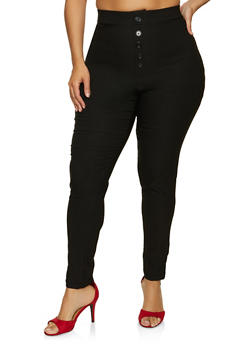 Plus Size Button Stretch Pants - 8441020625507