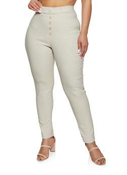Plus Size Button Stretch Pants - 8441020625507