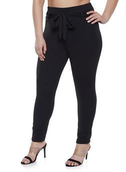 Plus Size Solid Tie Front Dress Pants - 8441020626340